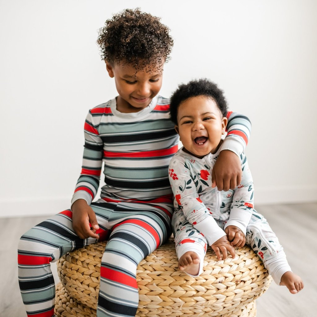 Little Sleepies Winter Stripes Two-Piece Bamboo Pajama Set for kids