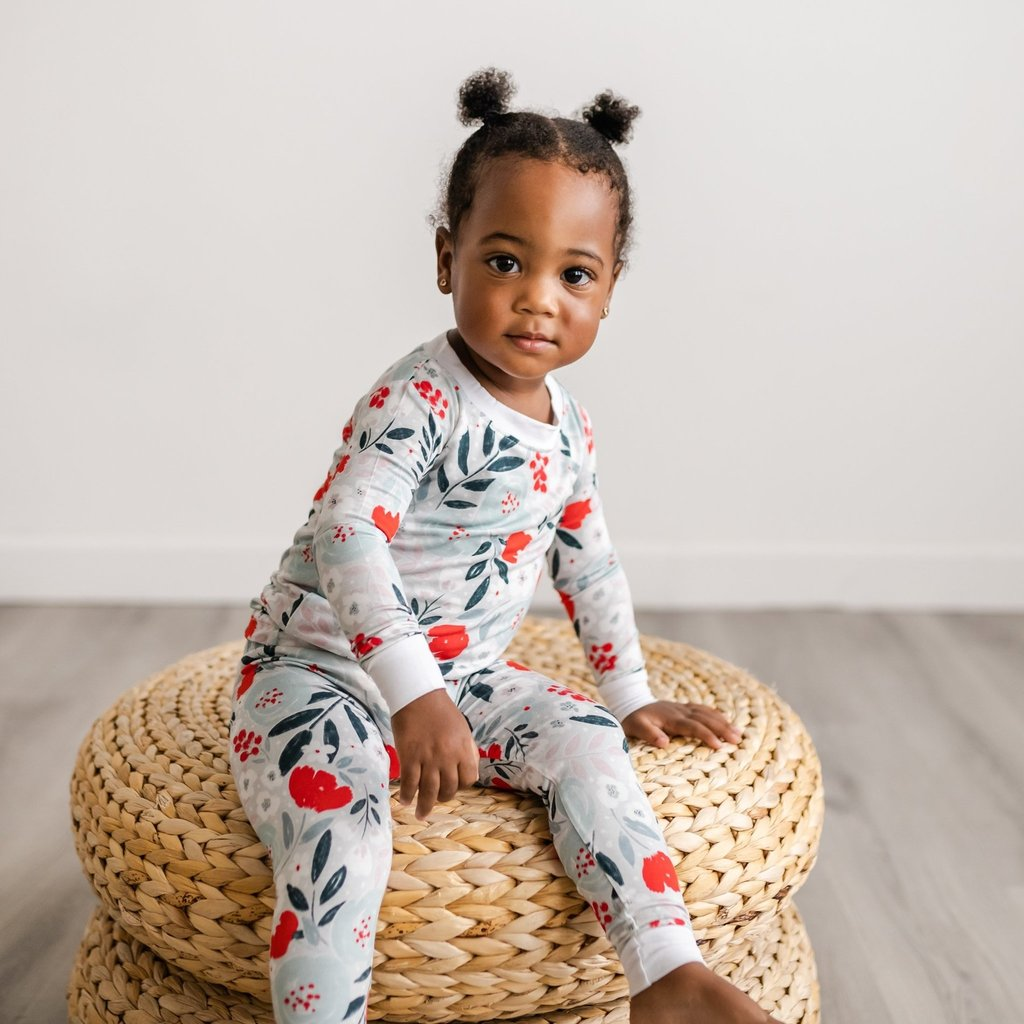 Little Sleepies Winter Florals Two-Piece Bamboo Pajama Set for Kids