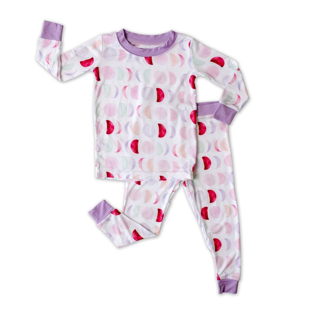 Little Sleepies Luna Mauve Two-Piece Bamboo Pajama Set for Kids