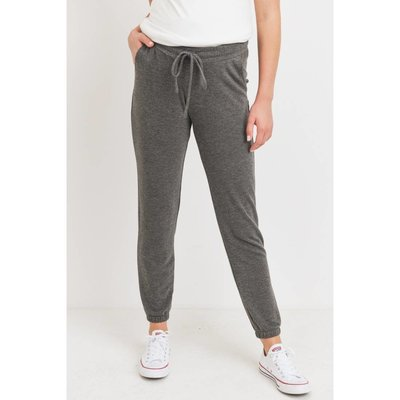 Hello Miz Charcoal Two-Tone Brushed Terry Maternity Sweatpants