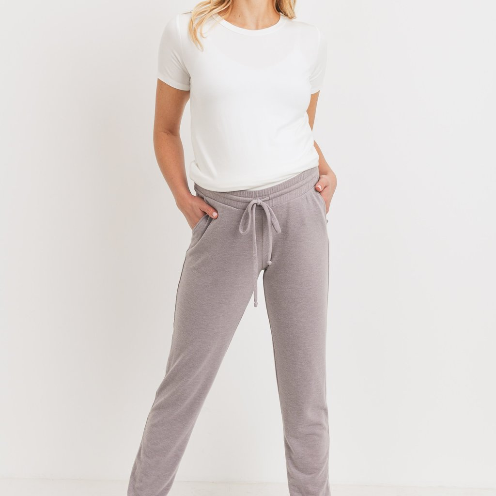 Hello Miz Mocha Two-Tone Brushed Terry Maternity Sweatpants