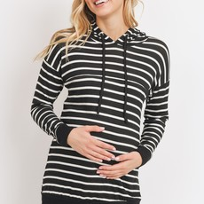 Hello Miz French Terry Striped Maternity and Nursing Hoodie