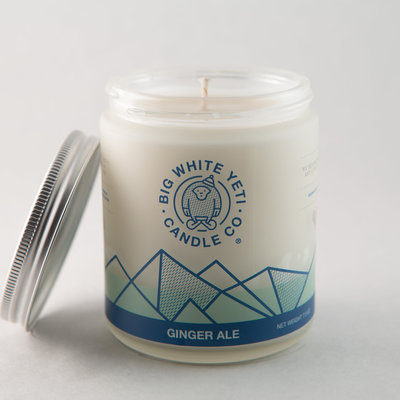 Big White Yeti Ginger Ale 8 oz frosted jar candle