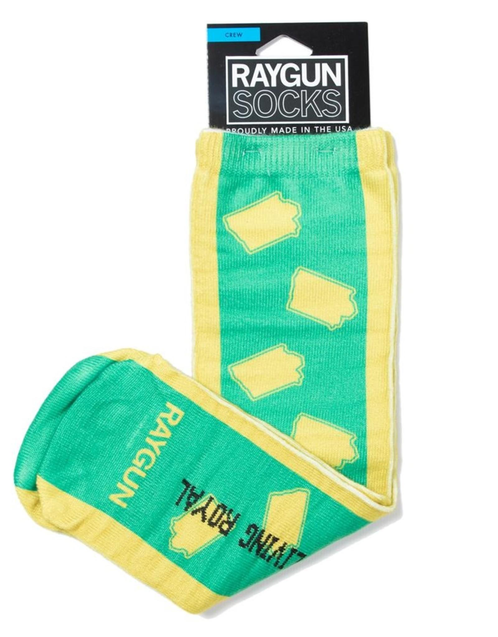 Iowa Outline Socks - Yellow & Green