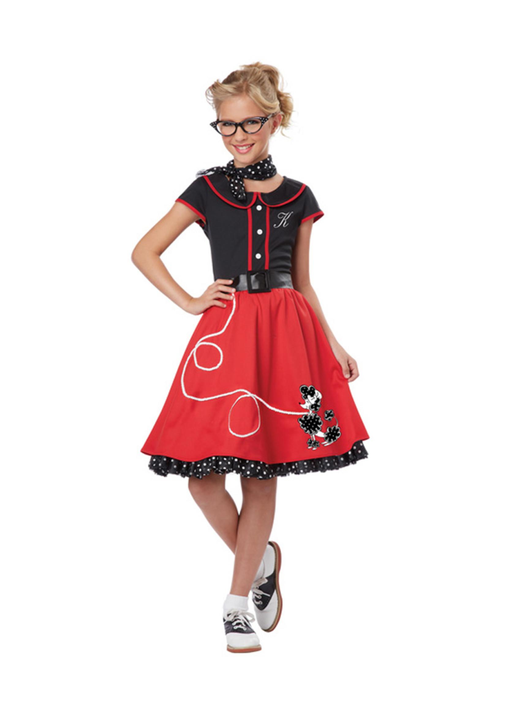 50's Sweetheart Red Costume - Girls