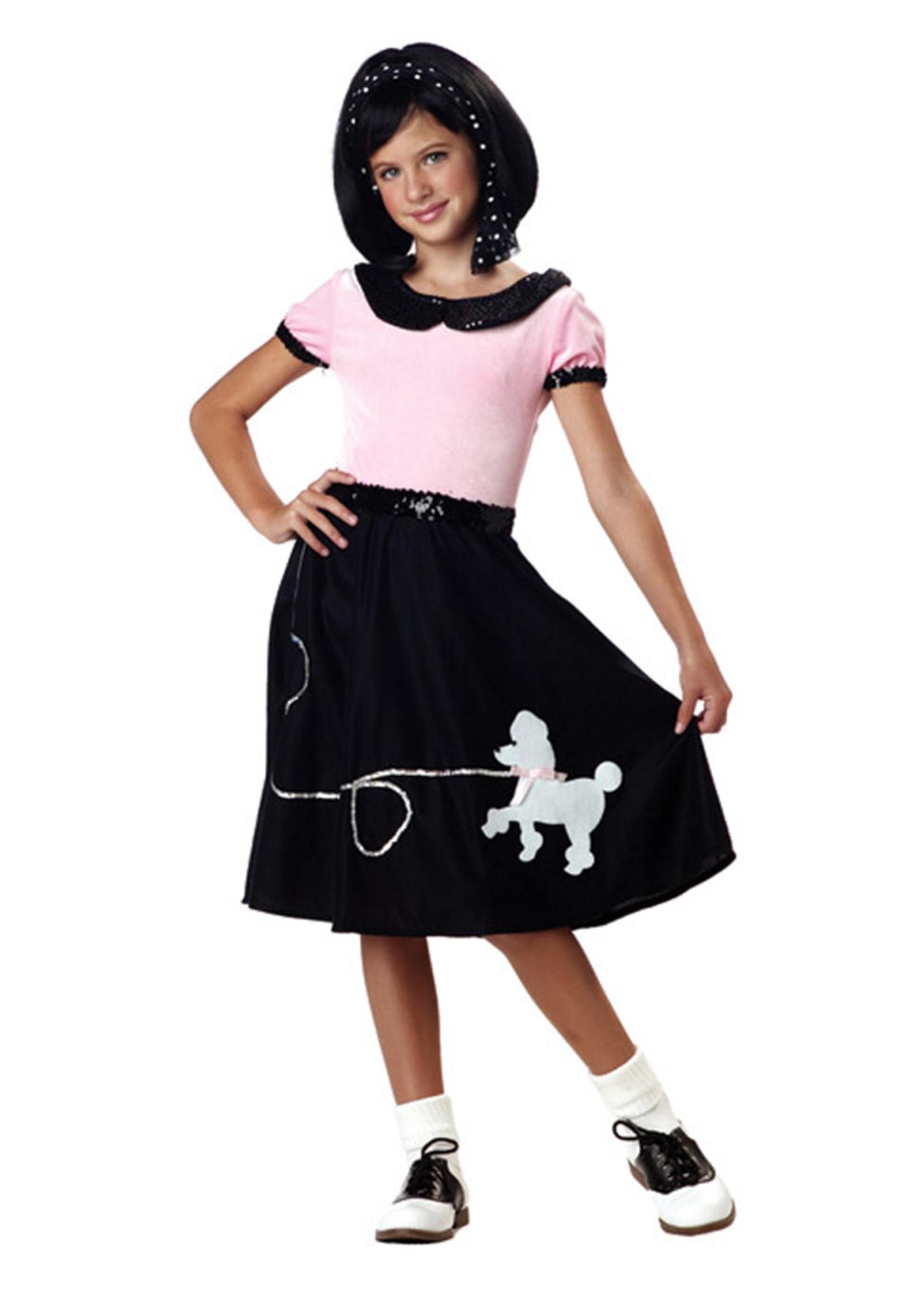 50's Hop w/ Poodle Skirt Costume - Girls