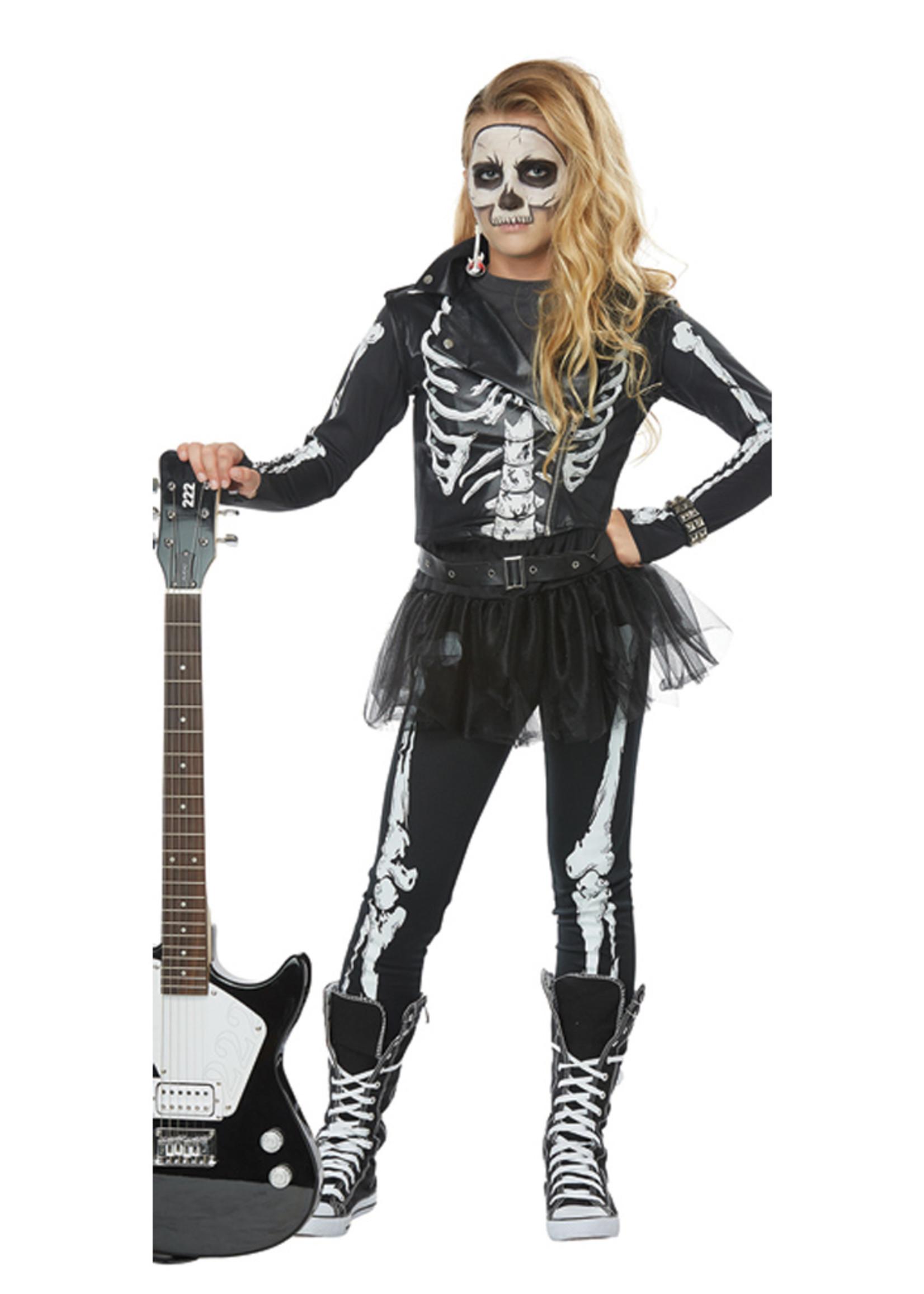 Skeleton Rocker Costume - Girls