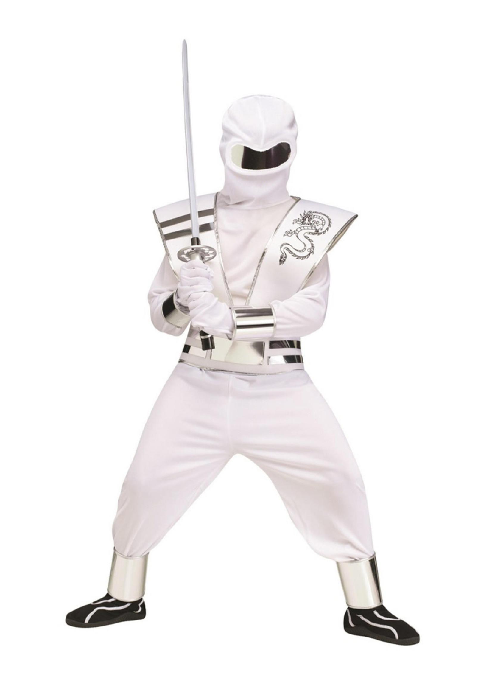 White Ghost Mirror Ninja Costume - Boys