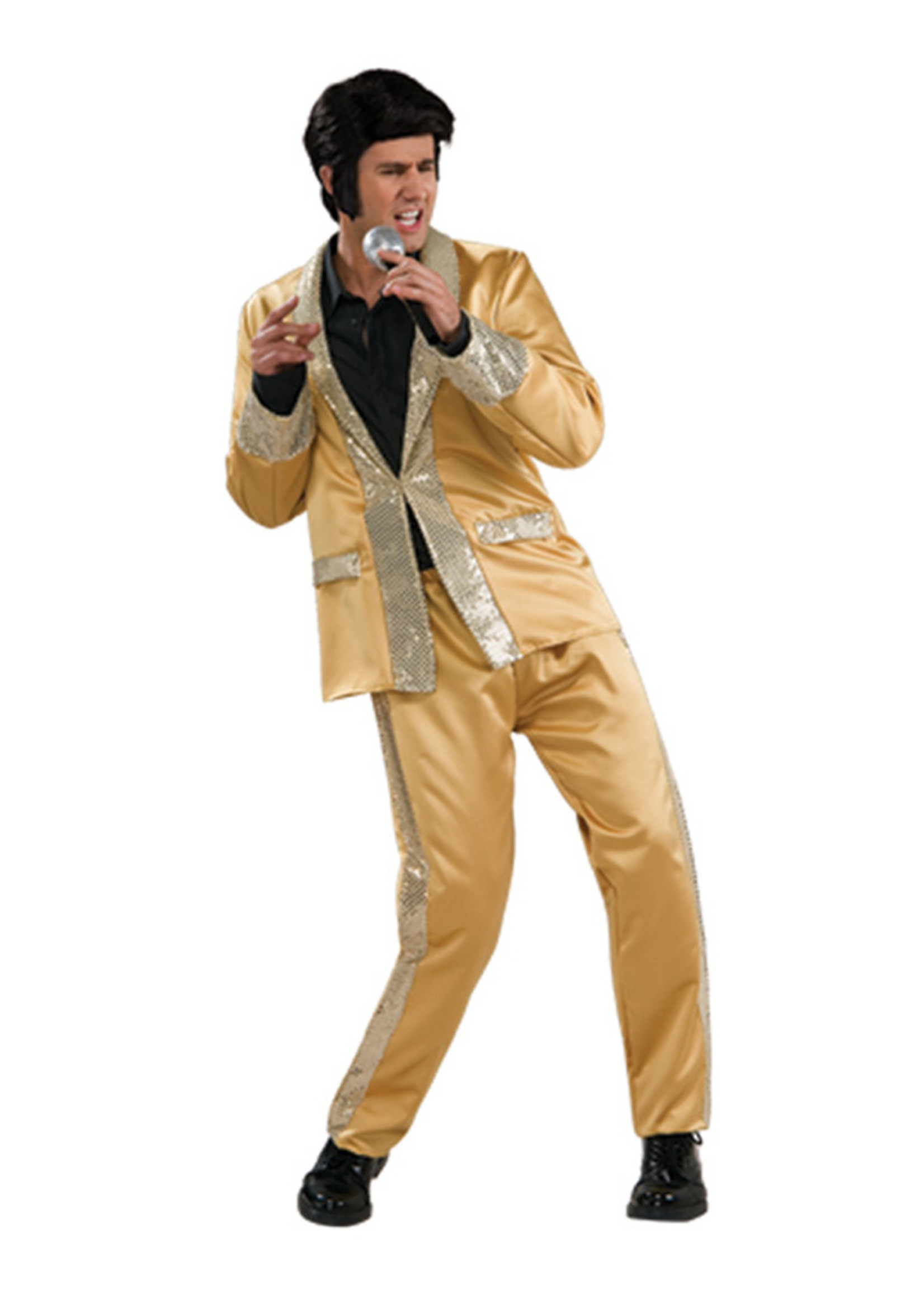 Elvis Gold Satin Suit Costume - Men's