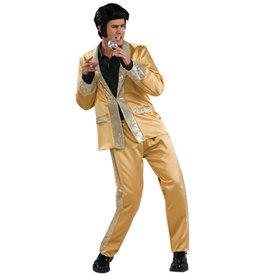 Elvis Gold Satin Suit Costume - Men's