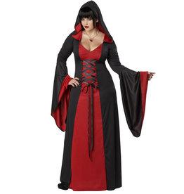 Red/Black Hooded Robe - Women Plus
