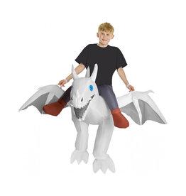 White Ride On Dragon Inflatable - Boy