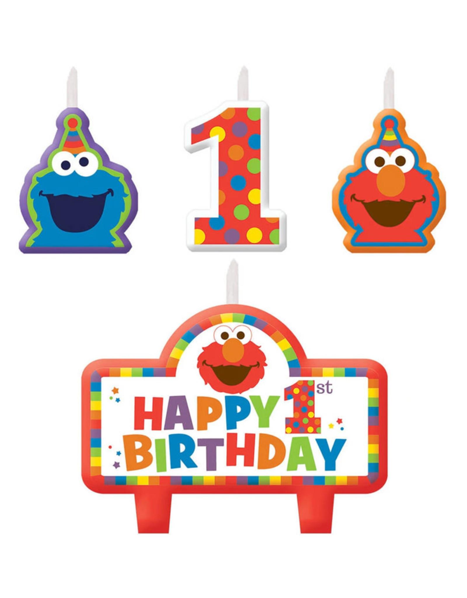 Elmo Turns One  Birthday Candle Set - 4ct
