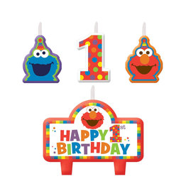 Elmo Turns One  Birthday Candle Set - 4ct