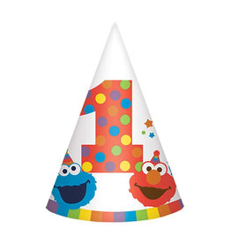 Elmo Turns One Party Hats - 8ct