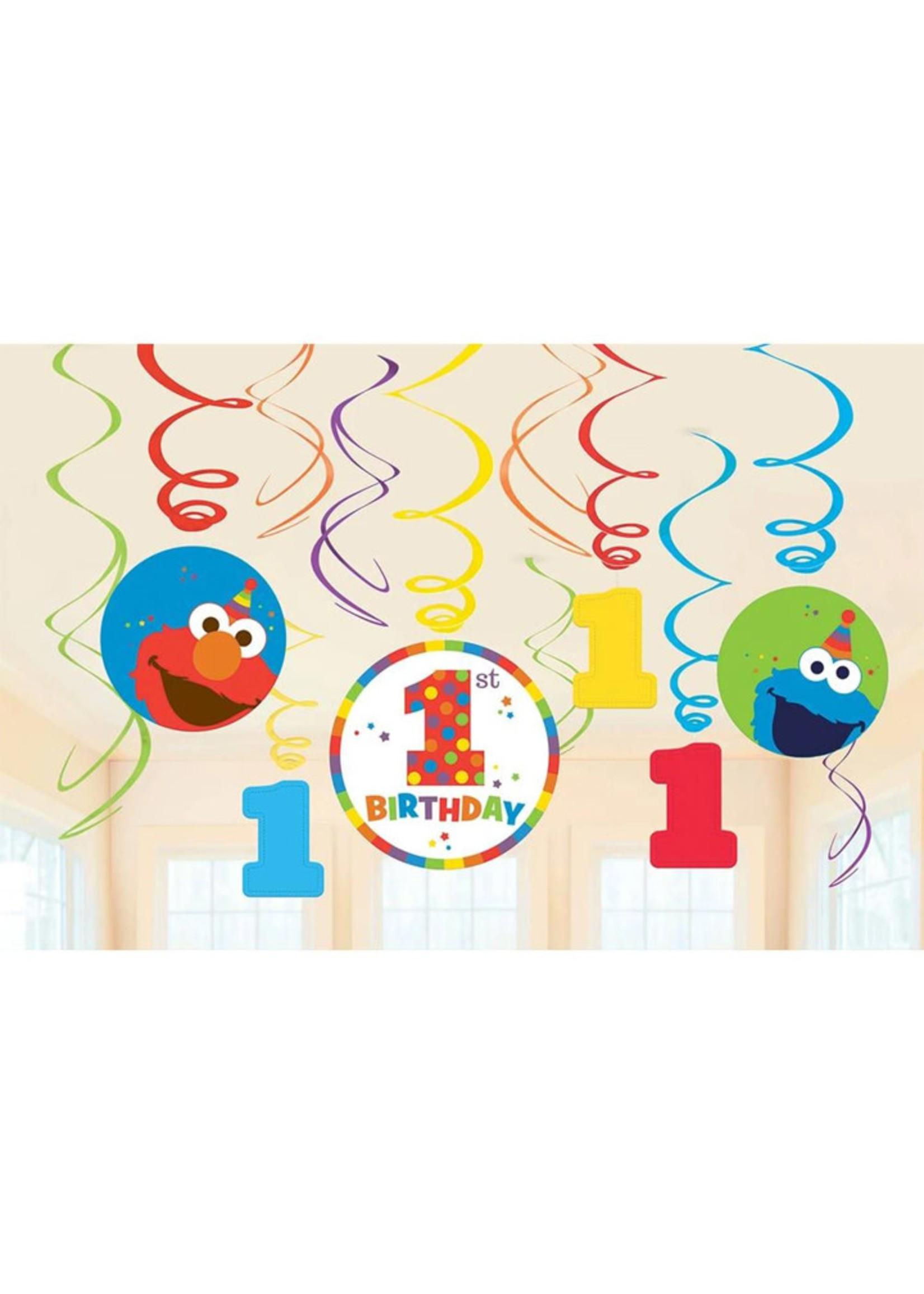 Elmo Turns One Hanging Swirls - 12ct