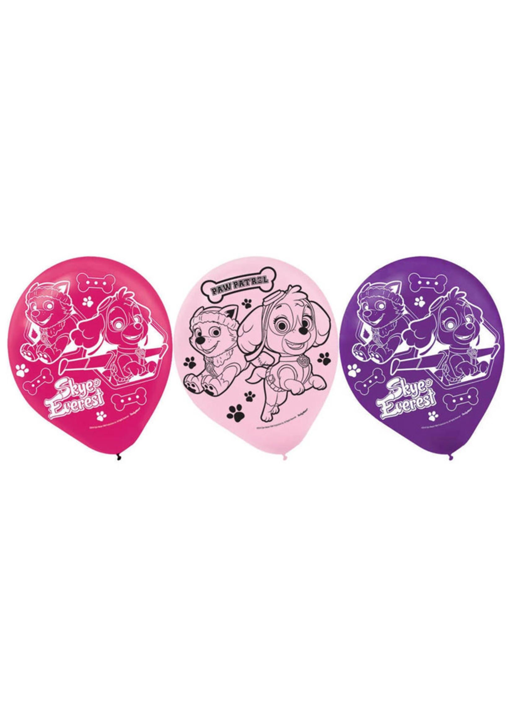 "Paw Patrol Girl 12"" Latex Balloons - 6ct"