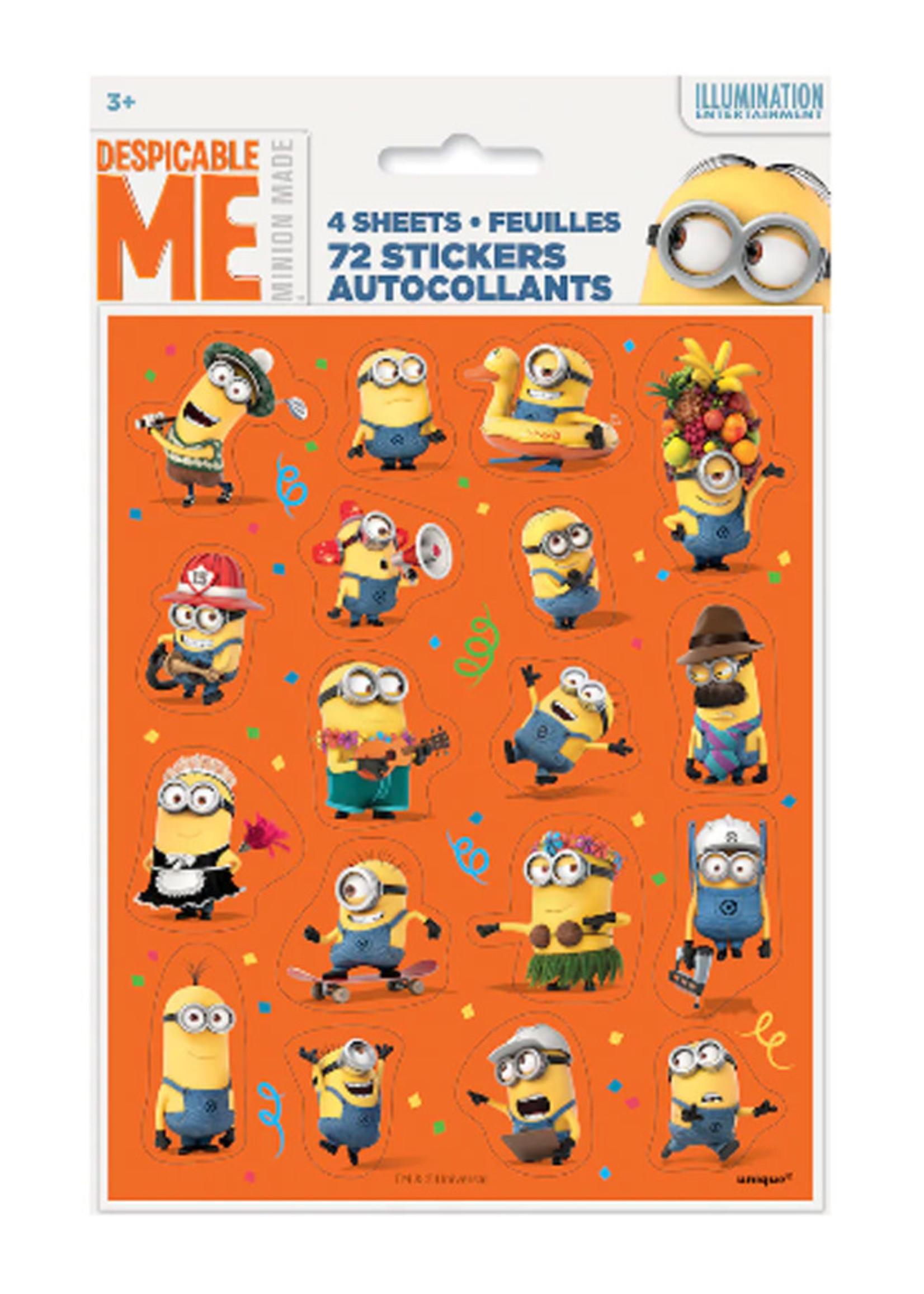 UNIQUE INDUSTRIES INC Despicable Me Minions Sticker Sheets - 4ct