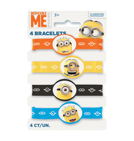 Despicable Me Minions Rubber Stretchy Bracelets - 4ct