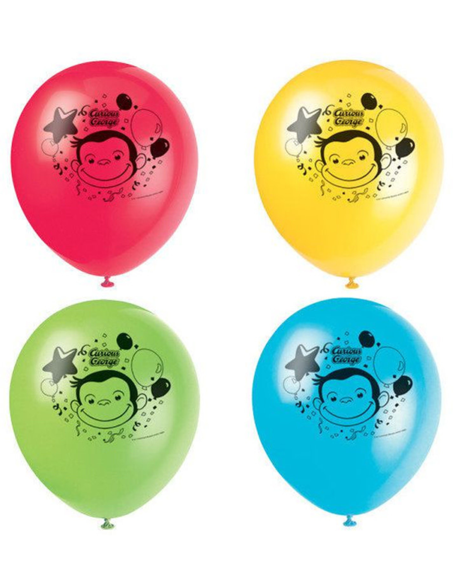 UNIQUE INDUSTRIES INC Curious George 12in Latex Balloons - 8ct