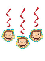 UNIQUE INDUSTRIES INC Curious George Hanging Swirl Decorations - 3ct