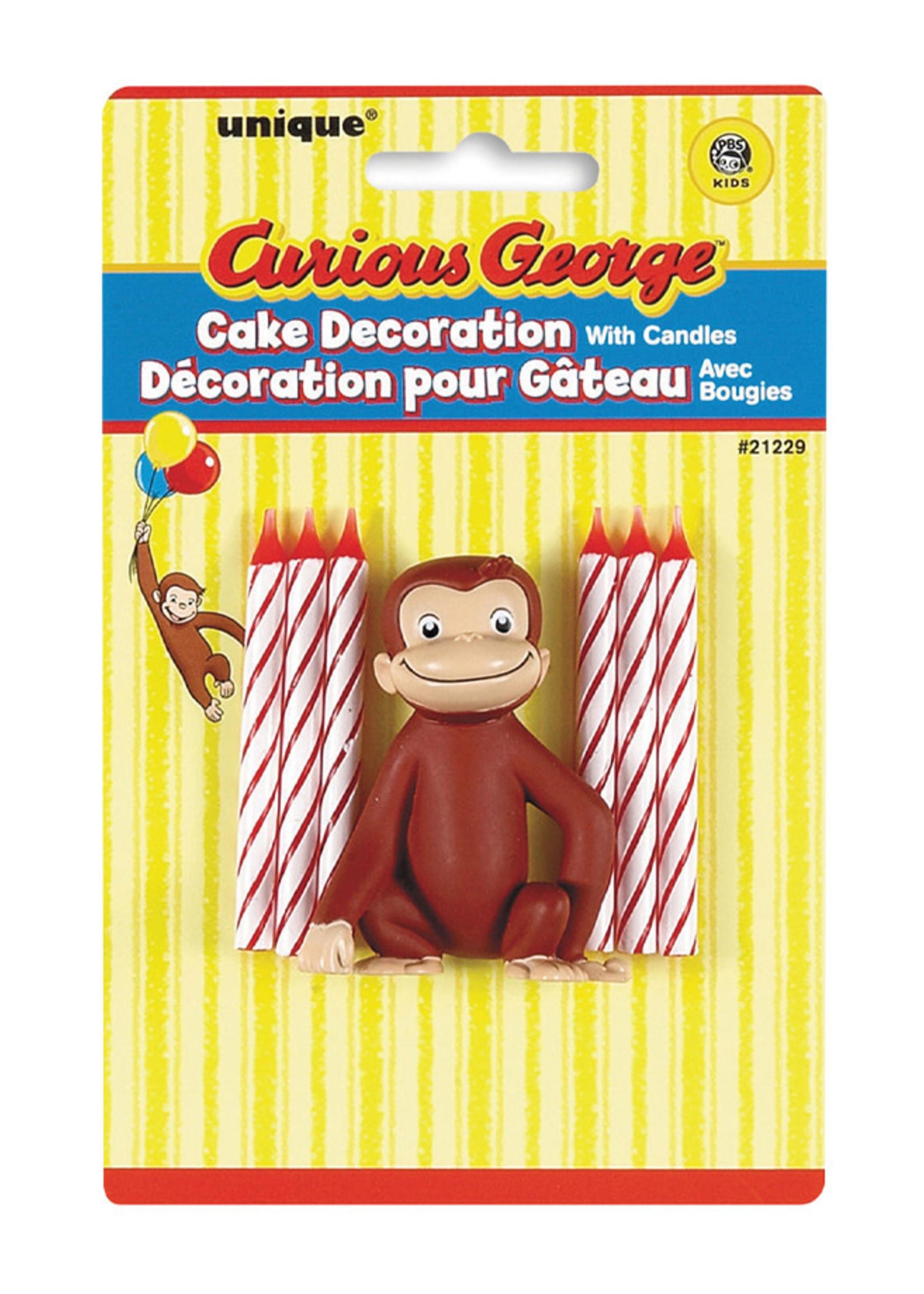 UNIQUE INDUSTRIES INC Curious George Cake Decoration & Candles - 7ct