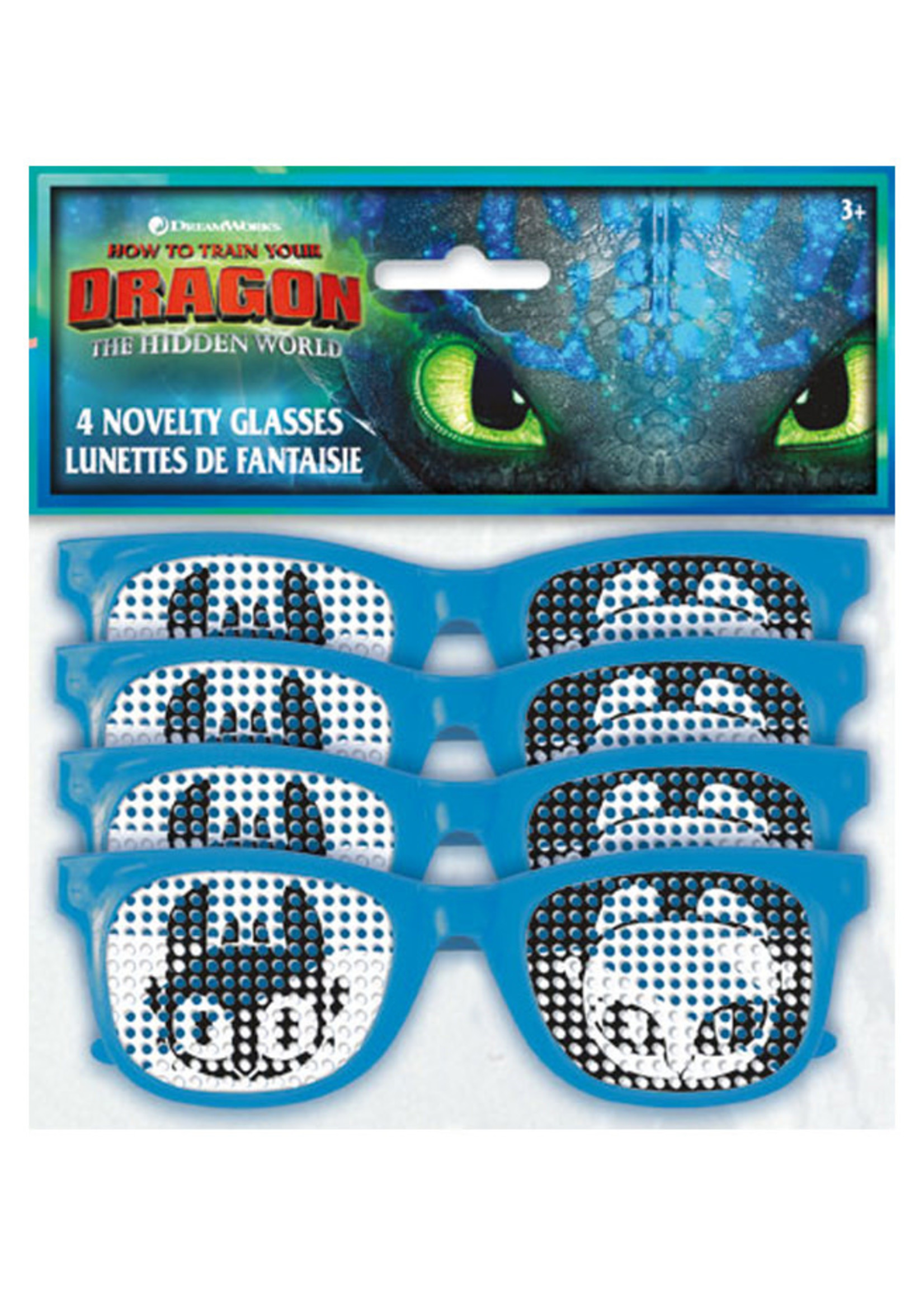 UNIQUE INDUSTRIES INC How to Train Your Dragon Pindot Novelty Glasses - 4ct