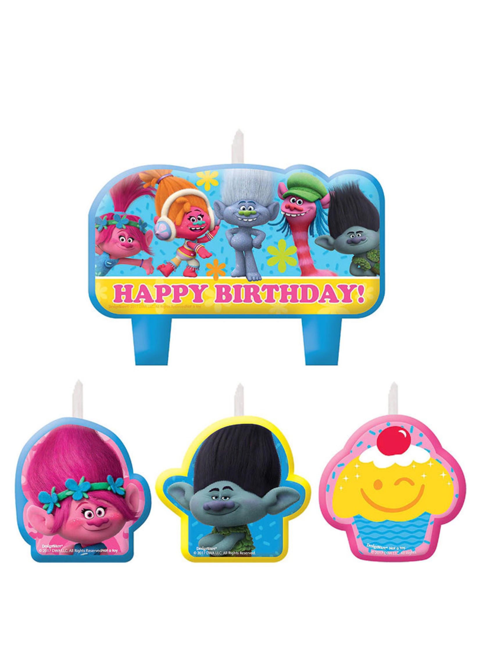 Trolls Birthday Candles - 4ct