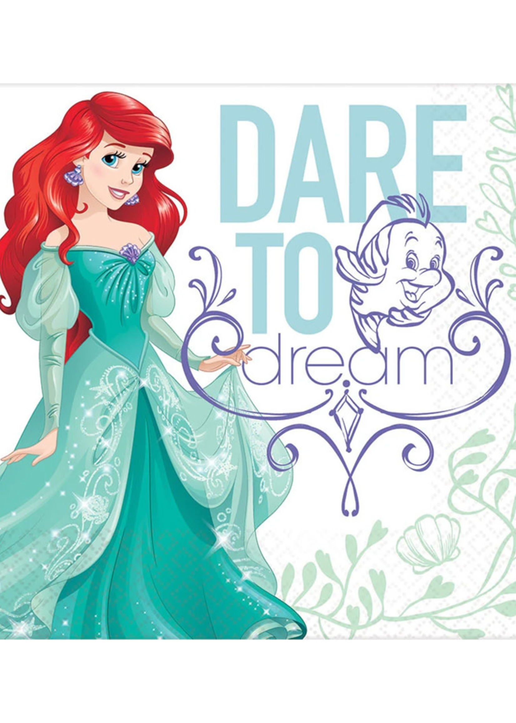 Disney Ariel Dream Big Luncheon Napkins - 16ct