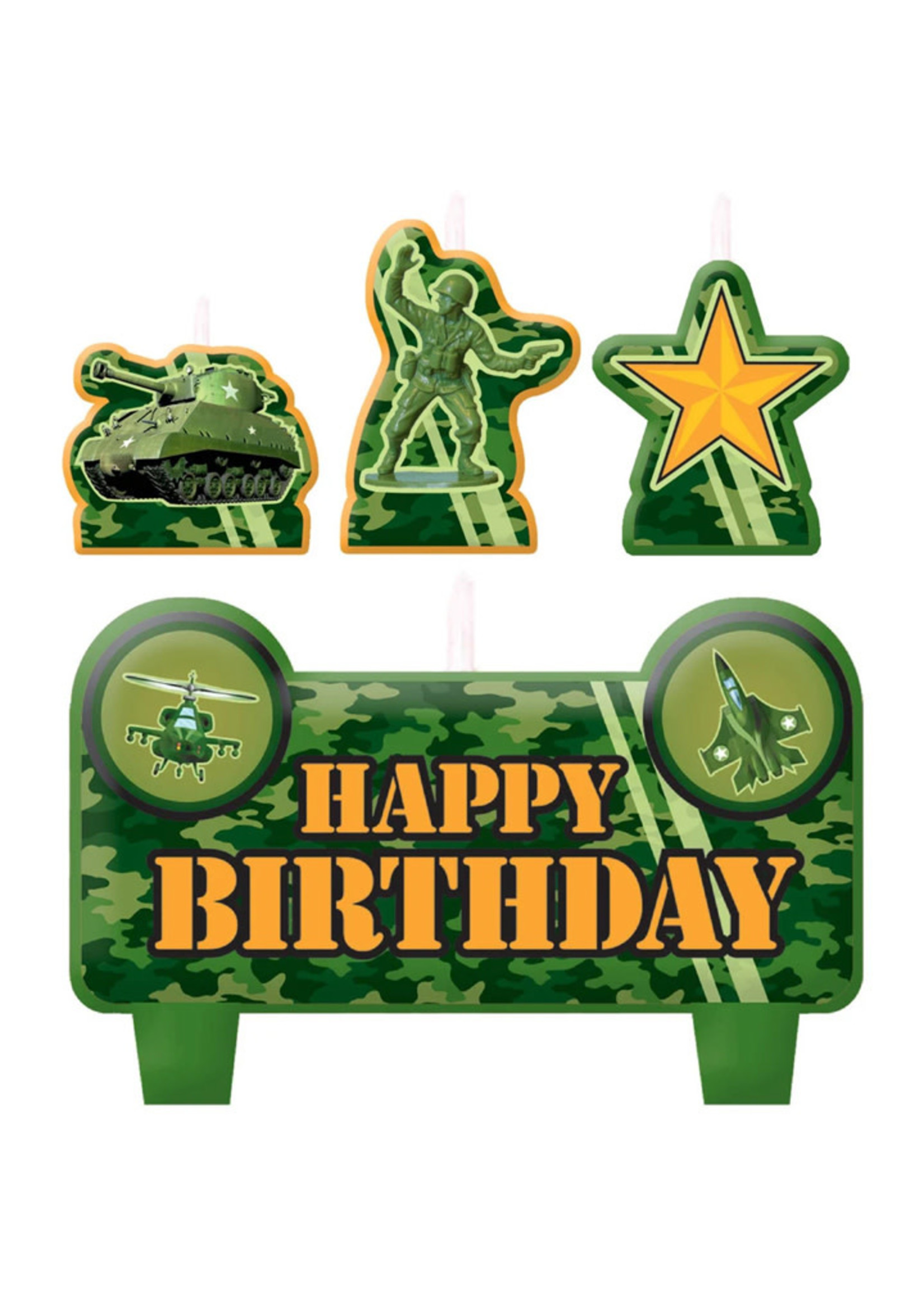 Camouflage Molded Candles - 4ct