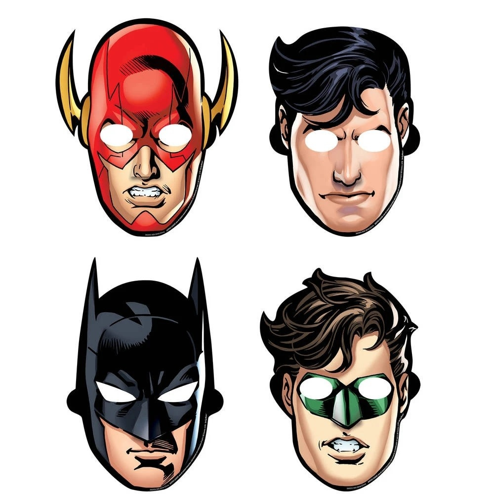 Justice League Paper Masks - 8ct