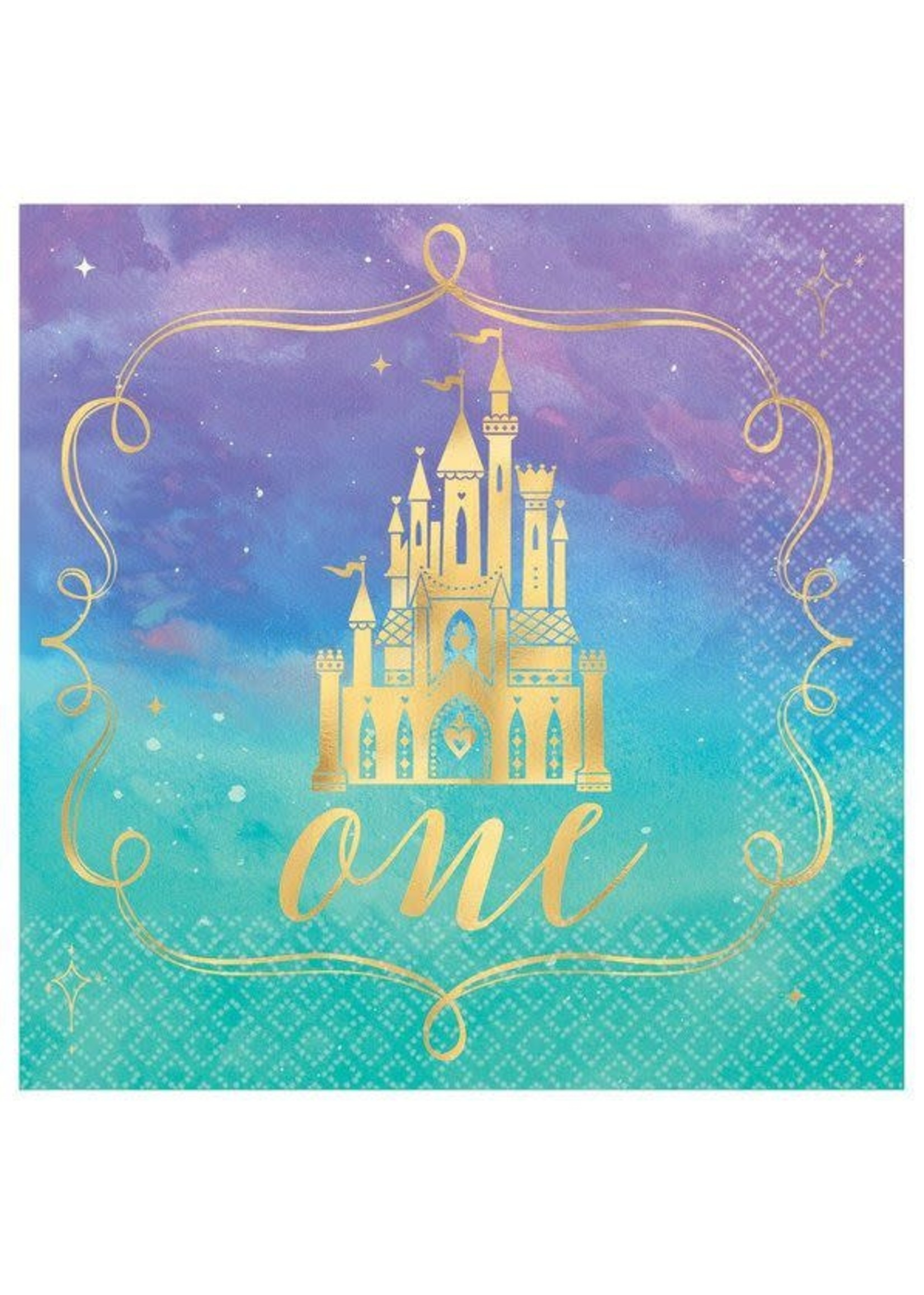 "Disney Princess ""Once Upon A Time"" 1st Birthday Beverage Napkins - 16ct"