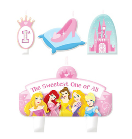 Disney Princess 1st Birthday Cake Candle Set 4ct