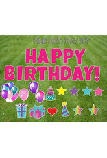 "Rental Yard Card ""Happy Birthday - Pink"" - Store Pick Up ONLY"