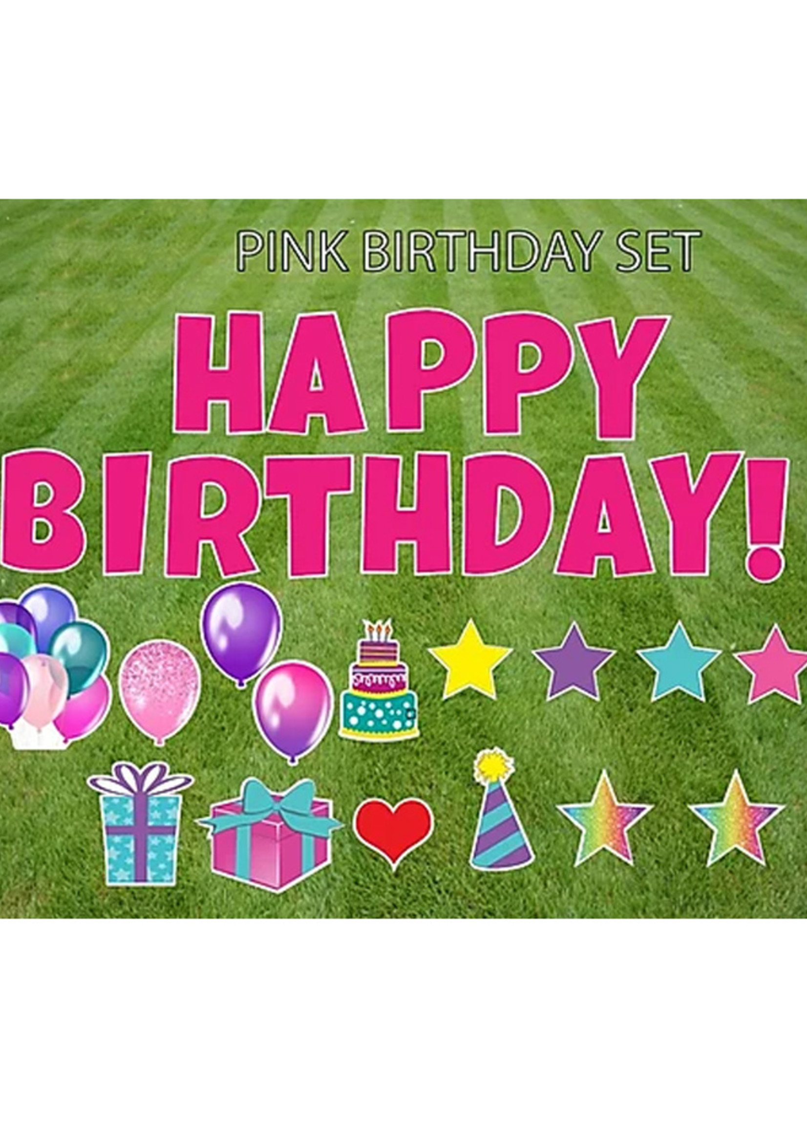 """Rental Yard Card """"Happy Birthday - Pink"""" - Store Pick Up ONLY"""