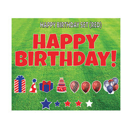 "Rental Yard Card ""Happy Birthday - Red"" - Store Pick Up ONLY"