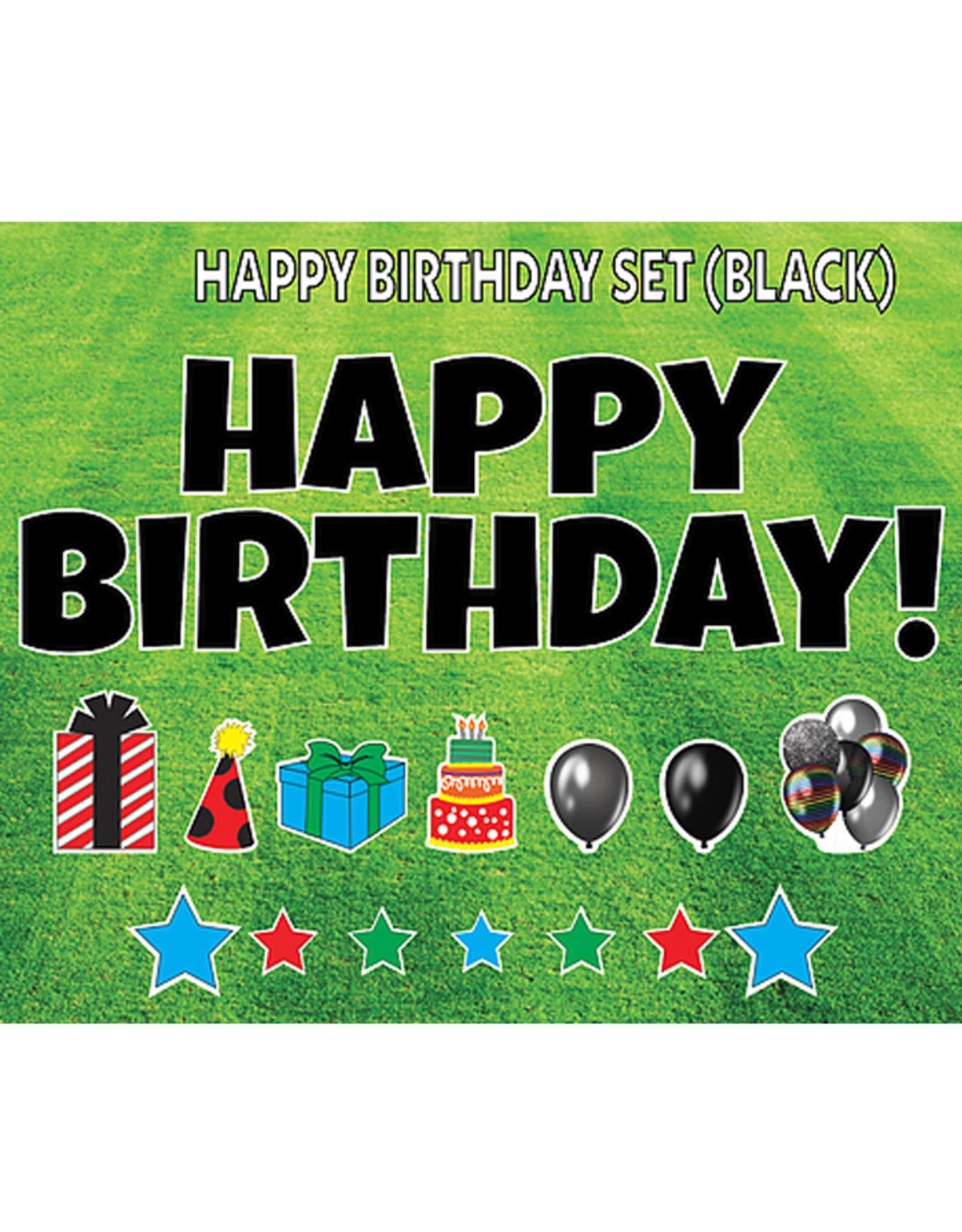"Rental Yard Card ""Happy Birthday - Black"" - Store Pick Up ONLY"