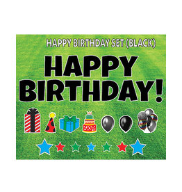 "Rental Yard Card ""Happy Birthday - Black"" - Store Pick Up ONLY"