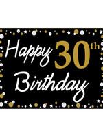 Happy 30th Birthday - Black, Gold & White Yard Sign