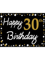 Happy 30th Birthday - Black, Gold & White Yard Sign