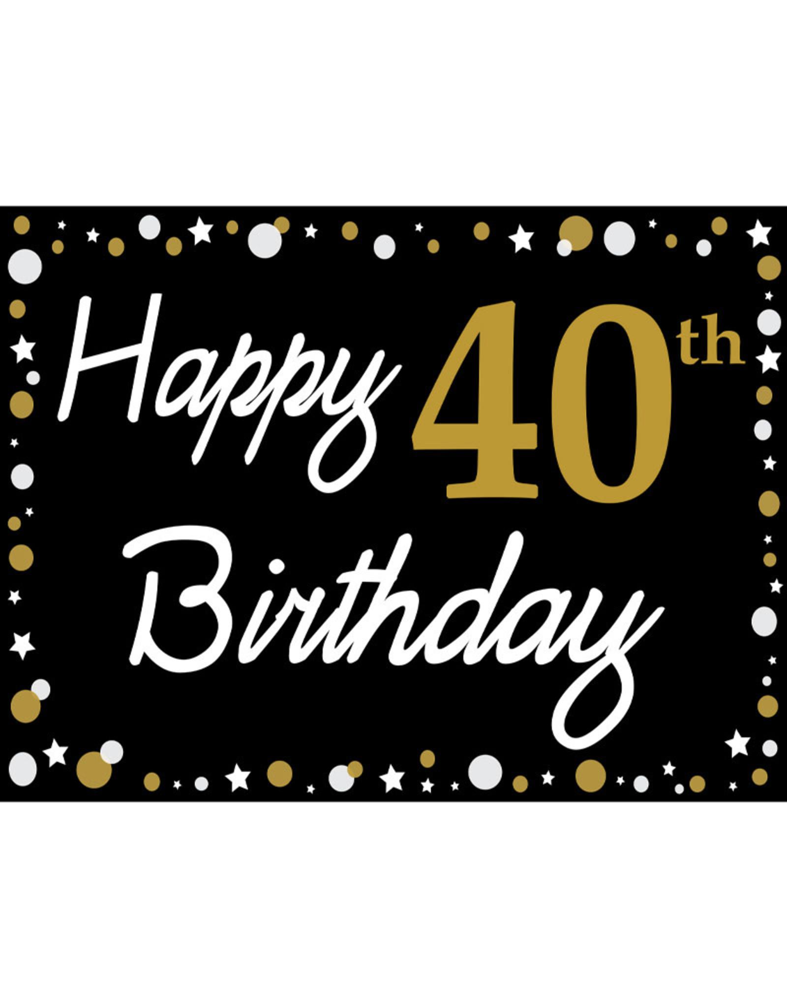 Happy 40th Birthday - Black, Gold & White Yard Sign