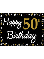 Happy 50th Birthday - Black, Gold & White Yard Sign