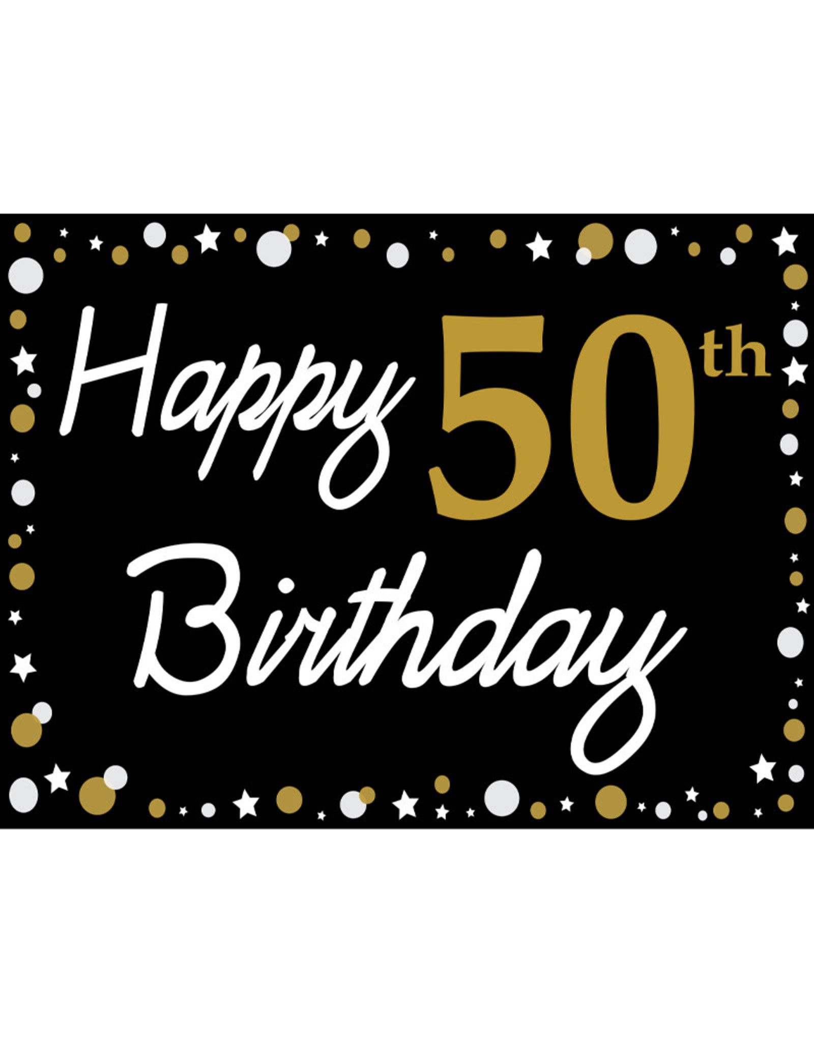 Happy 50th Birthday - Black, Gold & White Yard Sign