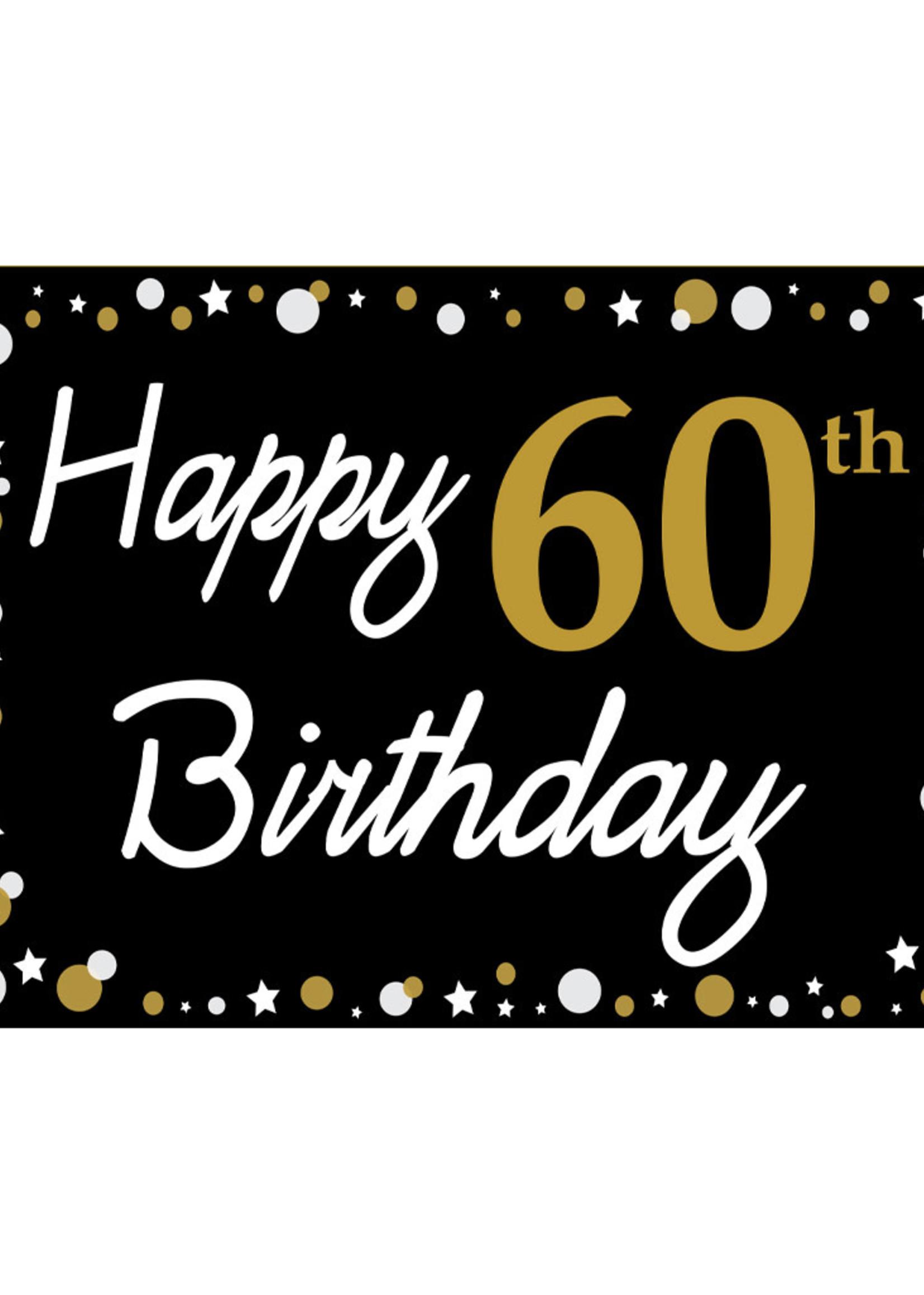 Happy 60th Birthday - Black, Gold & White Yard Sign