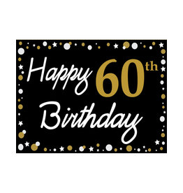 Happy 60th Birthday - Black, Gold & White Yard Sign