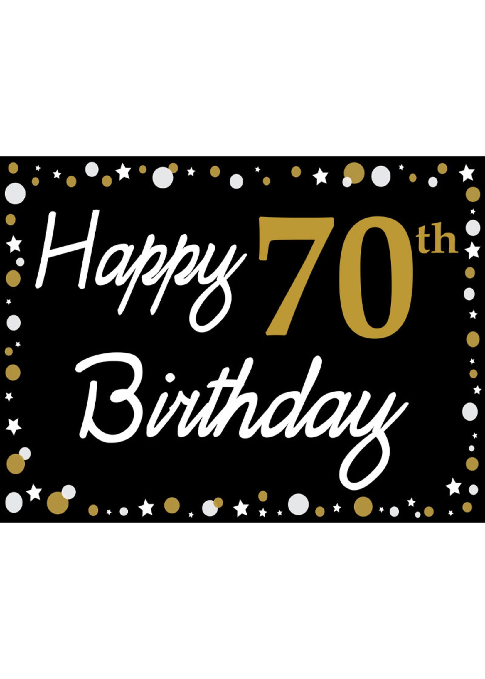 Happy 70th Birthday - Black, Gold & White Yard Sign