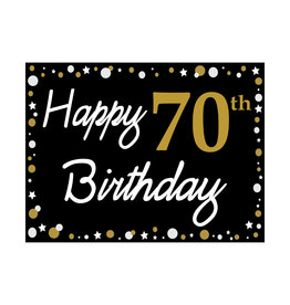 Happy 70th Birthday - Black, Gold & White Yard Sign