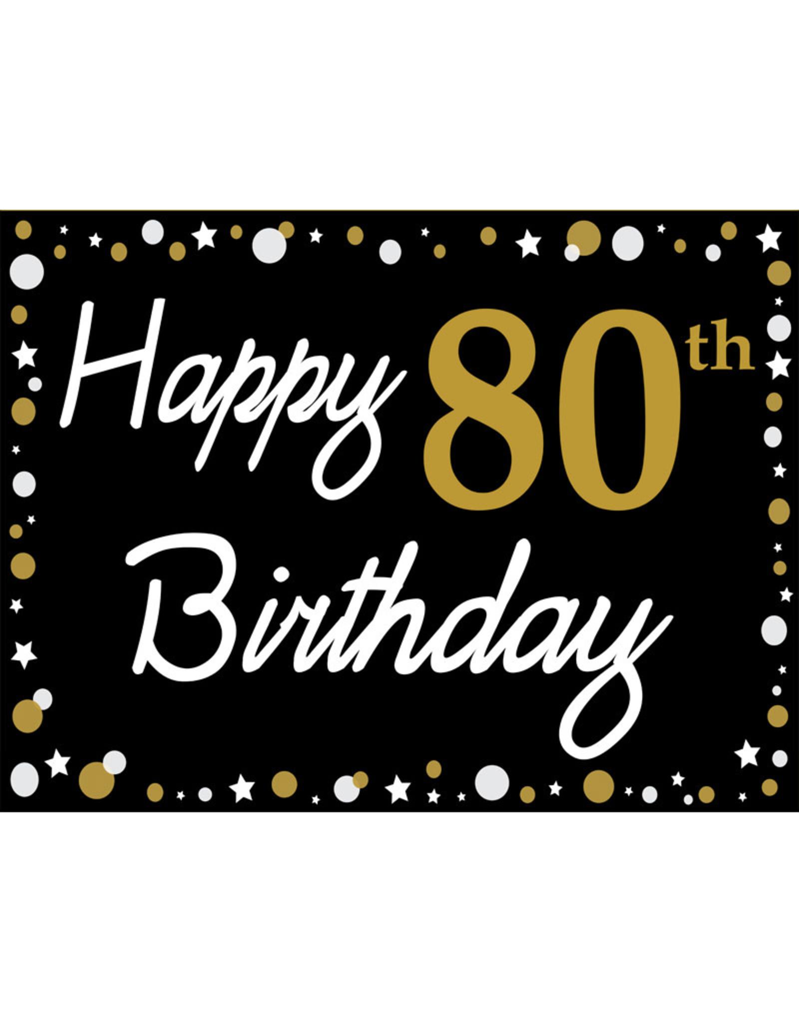 Happy 80th Birthday - Black, Gold & White Yard Sign