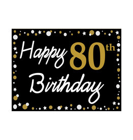 Happy 80th Birthday - Black, Gold & White Yard Sign