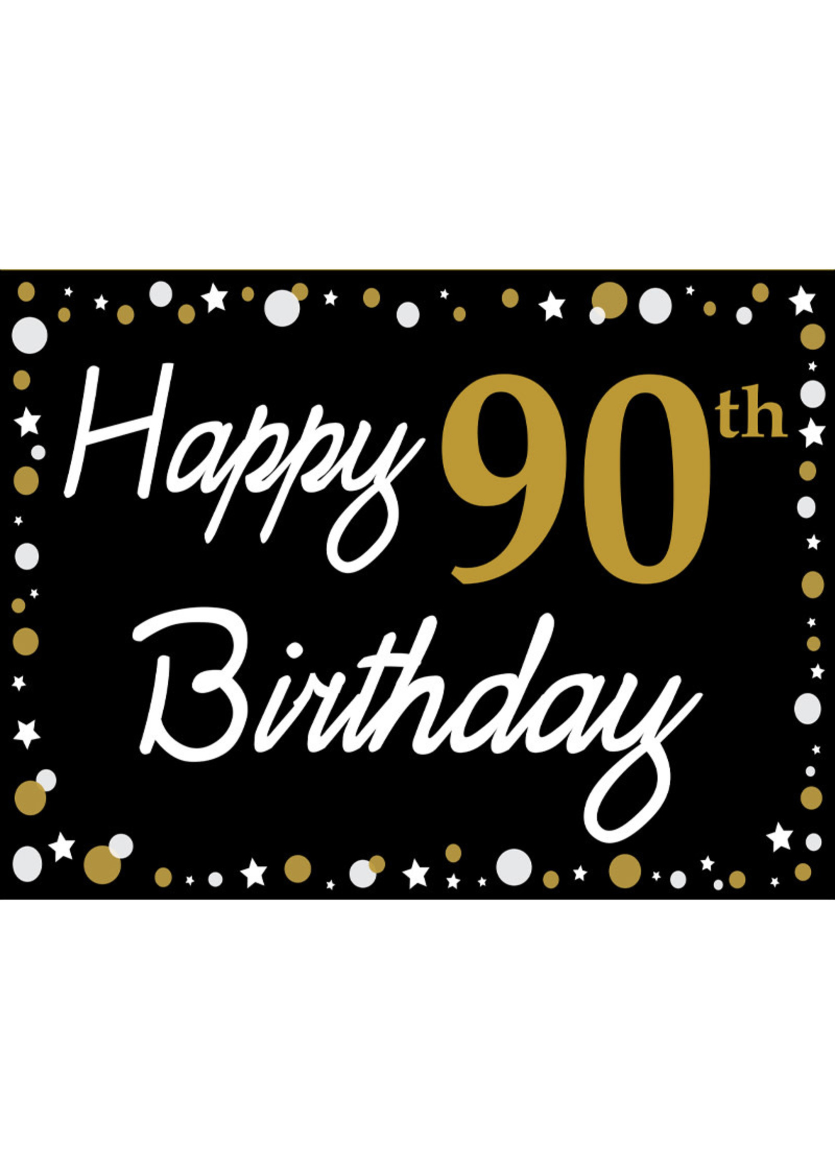 Happy 90th Birthday - Black, Gold & White Yard Sign